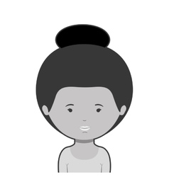 monochrome half body woman with collected hair vector image