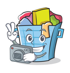 photography laundry basket character cartoon vector image