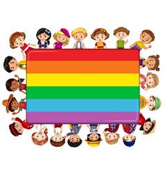 Rainbow board with many kids in background vector