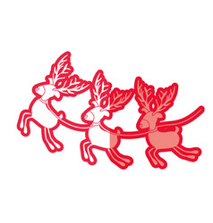 Red silhouette with set of three funny reindeers vector