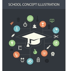 school flat design composition with icons vector image