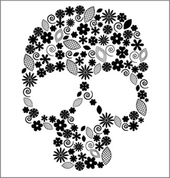 Scull with flower design vector