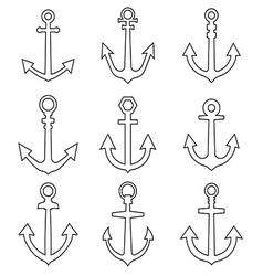 Set of anchors line style vector image vector image
