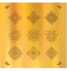 Set of thai art design on gold cloth vector
