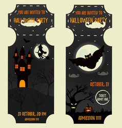 ticket halloween party invitation template vector image