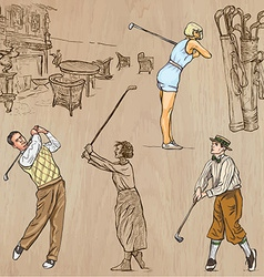 Vintage Golf and Golfers - Hand drawn freehands vector image
