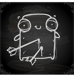 Wounded creature drawing on chalk board vector