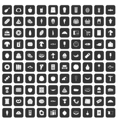 100 food shopping icons set black vector