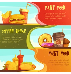 Fast food 2 retro banners set vector