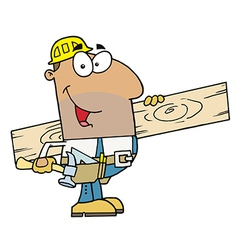 Hispanic construction worker carrying a wood board vector
