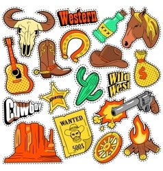 Wild west texas western badges patches stickers vector