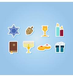 Color set with hanukkah symbol icons vector