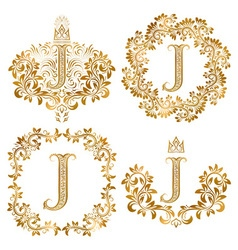 Golden letter J vintage monograms set Heraldic vector image