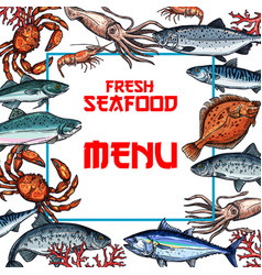 Seafood menu card or poster template vector