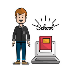 Teacher with laptop web learn knowledge vector