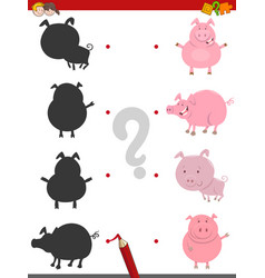 Shadow activity with pig animals vector
