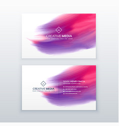 Creative business card with watercolor effect vector