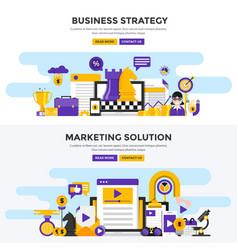 Flat design concept banners - business strategy vector