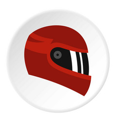 Red racing helmet icon circle vector