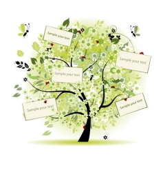 Wish tree floral with cards vector