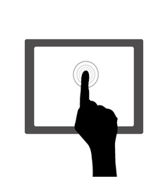 Hands point on digital tablet vector image
