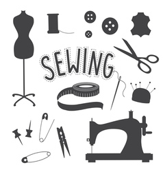 Sewing slip art set vector image