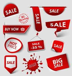 Collection web red pointers labels for shopping vector