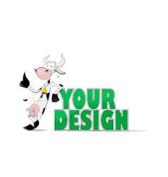 Cute cow with green grass vector image