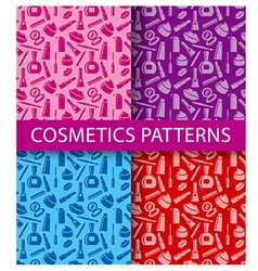 Cosmetics seamless patterns vector