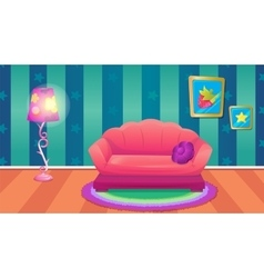 Fun blue room with sofa vector