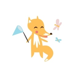 Fox catching the butterflies vector