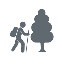 Travel tourist with backpack icon vector