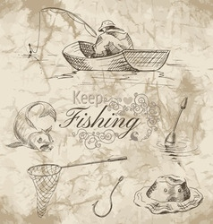 Keep fishing sketch vector