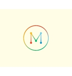 Abstract letter M logo design template Colorful vector image vector image
