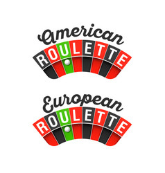 American and european roulette wheel signs vector