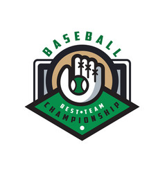 baseball championship best team logo template vector image vector image