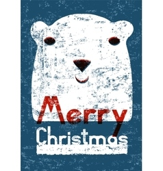 Christmas card design with funny polar bear vector image