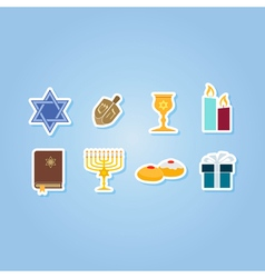 color set with hanukkah symbol icons vector image