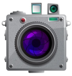 Compact camera with a lens vector image