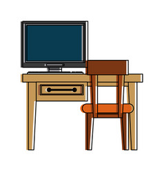 desk computer chair furniture icon image vector image vector image