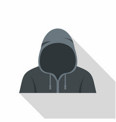 Figure in a hoodie icon flat style vector