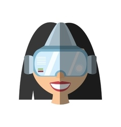 Girl virtual reality glasses technology shadow vector