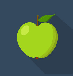 green apple cartoon flat icon dark blue vector image vector image