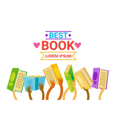 group of hands holding books reading banner vector image