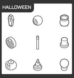 halloween outline isometric icons vector image vector image