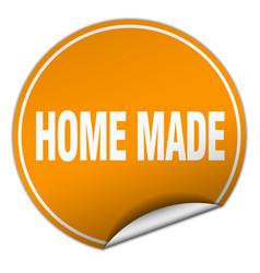 Home made round orange sticker isolated on white vector