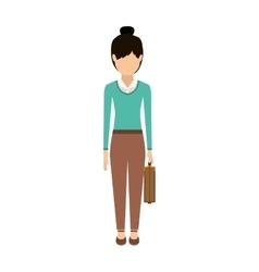 Isolated avatar woman and suitcase design vector image