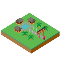 Isometric asian house vector