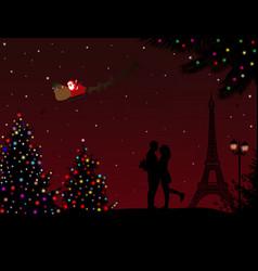 Lovers in paris with santas sleigh vector