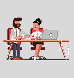 man and girl having a break on work vector image vector image